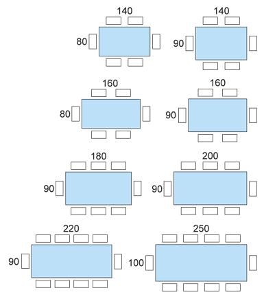 Schema posti tavolo tavoli pranzo pinterest schema - Misure tavolo 6 posti ...