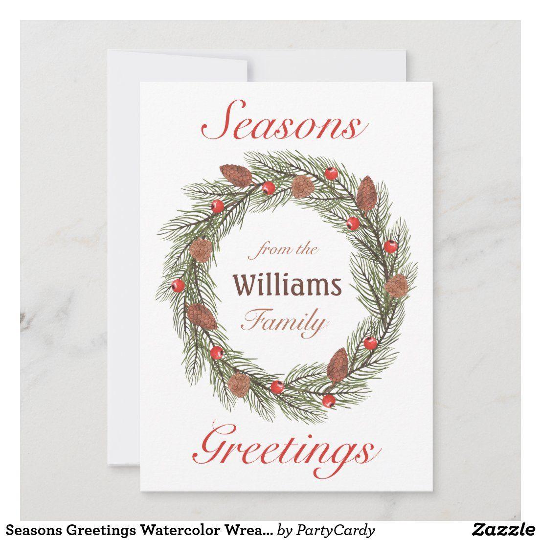 Seasons Greetings Watercolor Wreath Christmas Holiday Card