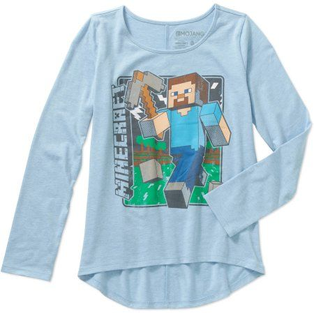Minecraft Girls' Vintage Steve Long Sleeve Crew Neck Graphic Tee, Size: XS, Blue