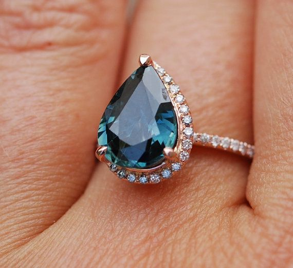c48c1a757 Rose Gold Engagement Ring Peacock Blue Green Sapphire 3.03ct pear cut halo  engagement ring 14k rose gold.