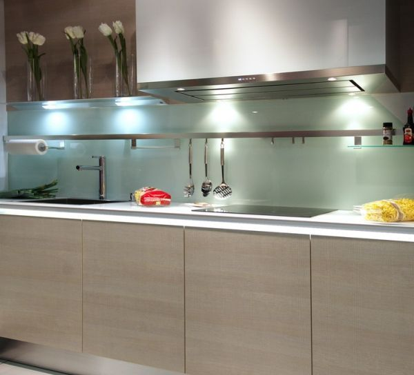 glass sheet backsplash latest trend redefining the contemporary rh pinterest com Kitchen Backsplash Made with Pennies Formica Kitchen Back Splash Ideas