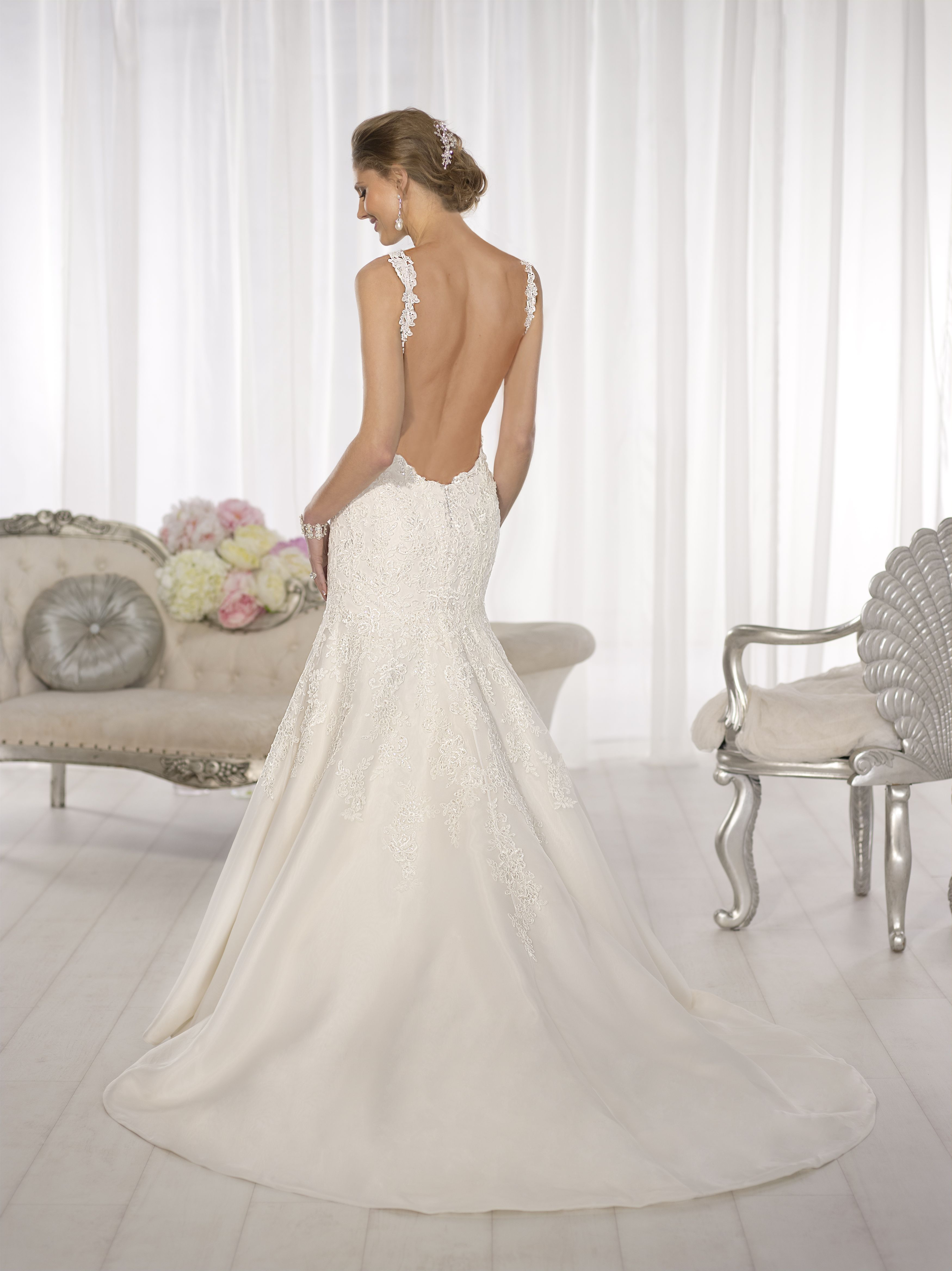 D1616, Low back wedding gown, Lace wedding gown, Southern