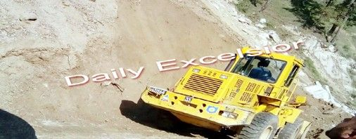 A machine put in place to clear the Batote-Doda road at Raghi Nallaha due to heavy rainfall on ThursdayExcelsior/Tilak Raj