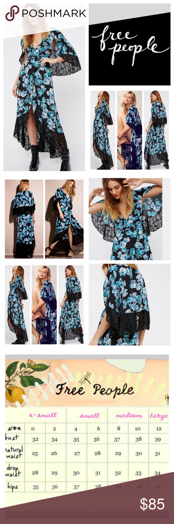 Free people midnight garden cape maxi nwot free people black