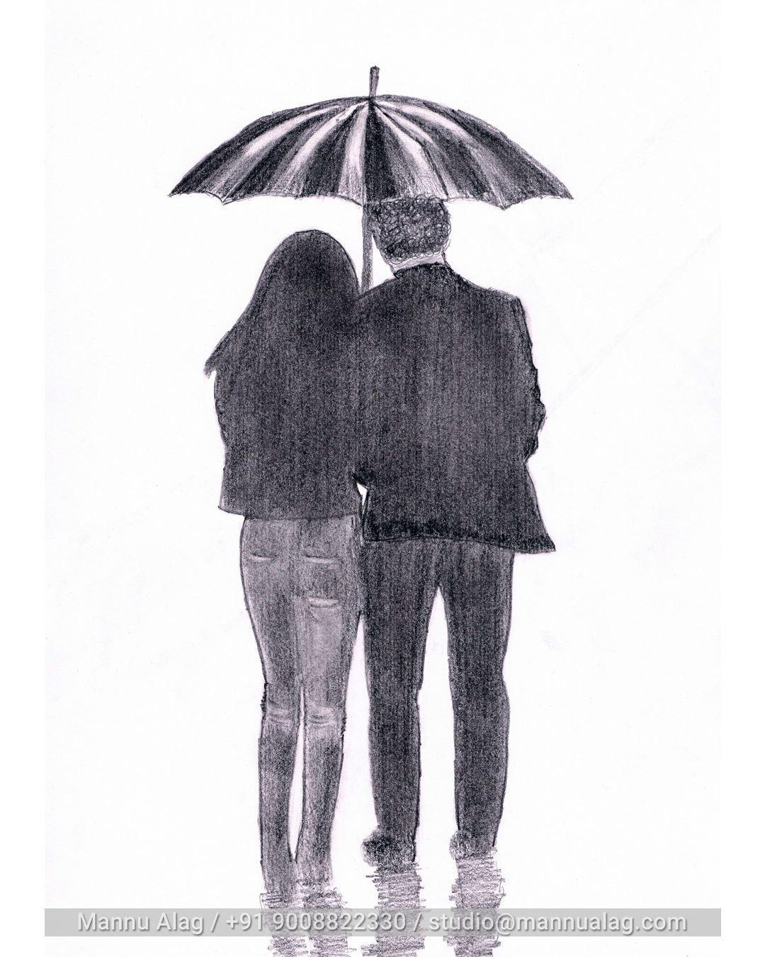 Wip sketch shadesofgray couples rain night blackandwhite pencil art mannualag