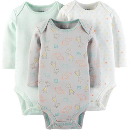 14019f9e1 Child Of Mine by Carter's Newborn Baby Long Sleeve Bodysuit, 3 Pack -  Walmart.com