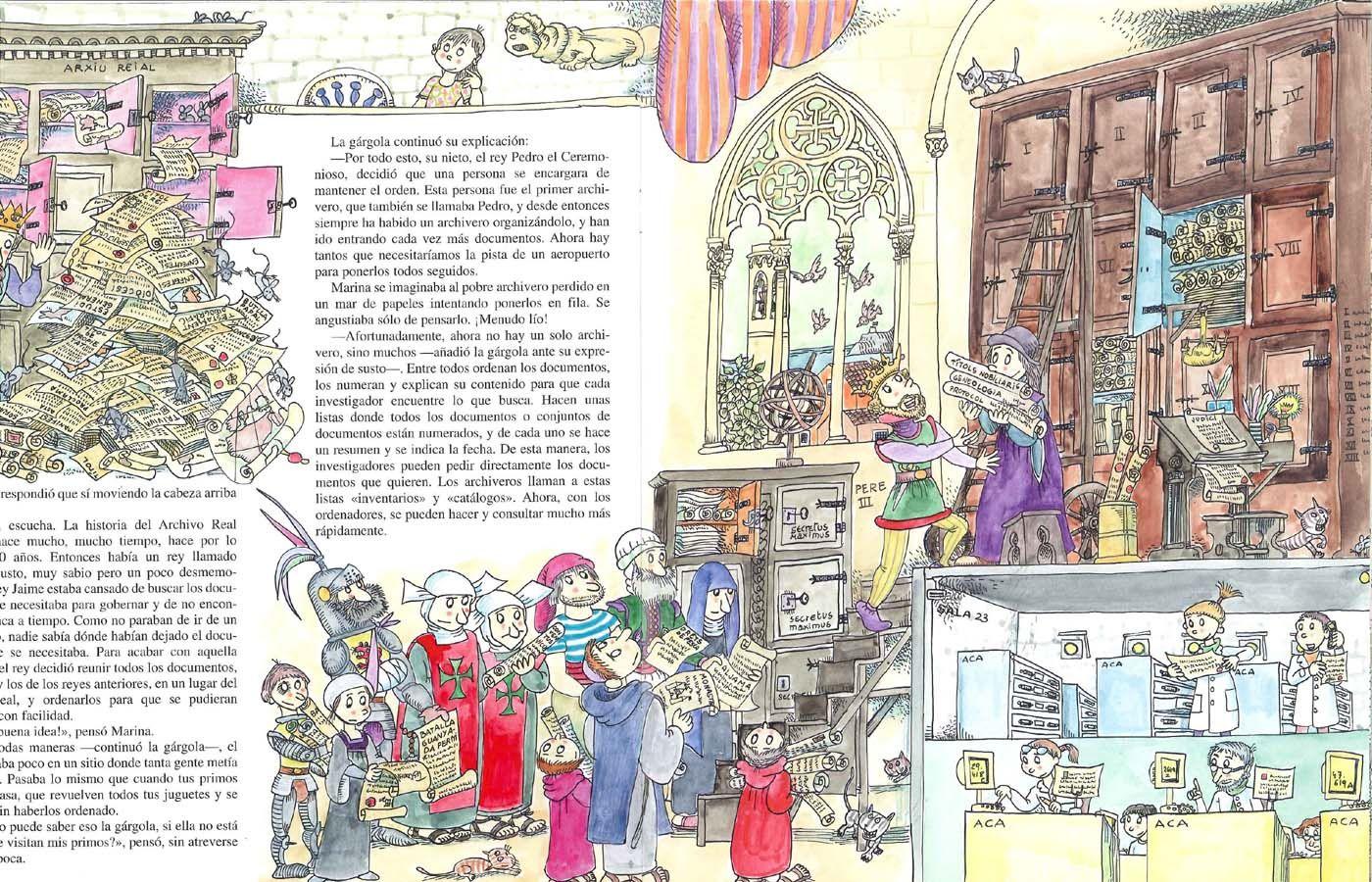 Pequeña historia del Archivo de la Corona de Aragón ilustrado por Pilarín Bayés. Publicado por Mediterrània, 2006.