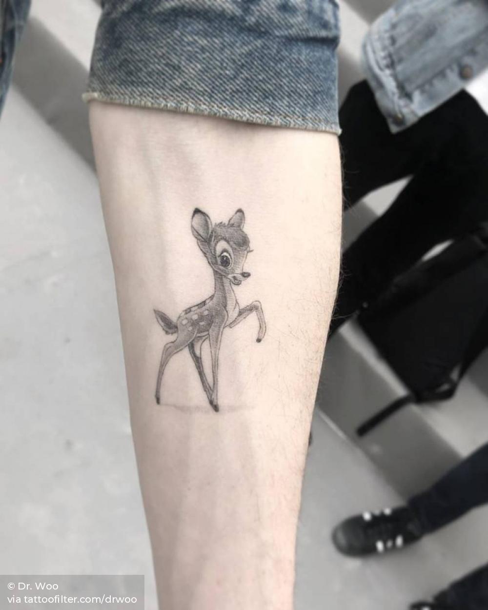 Healed Single Needle Bambi Tattoo On The Inner Forearm Bambi Tattoo Tattoos Nerdy Tattoos