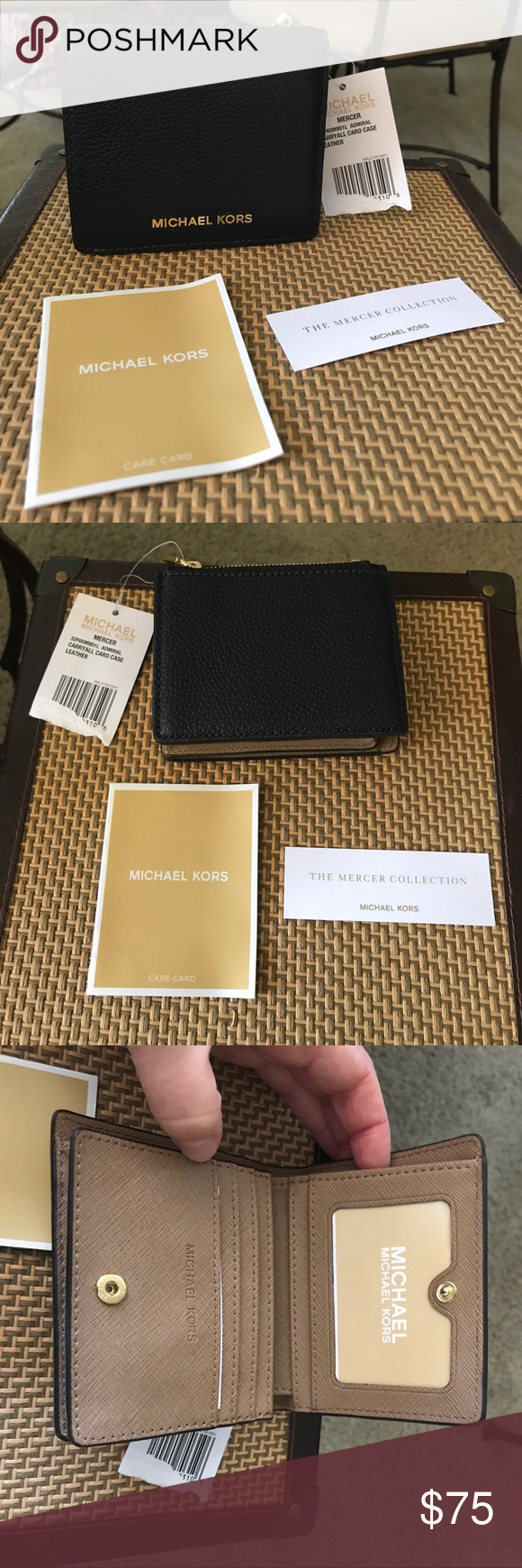 32696febb438 Michael Kors Mercer Pebble Leather Wallet NWT NWT Michael Kors Mercer Card  Case Wallet Two Tone Admiral Blue Pebble Leather and Tan Interior with coin  ...