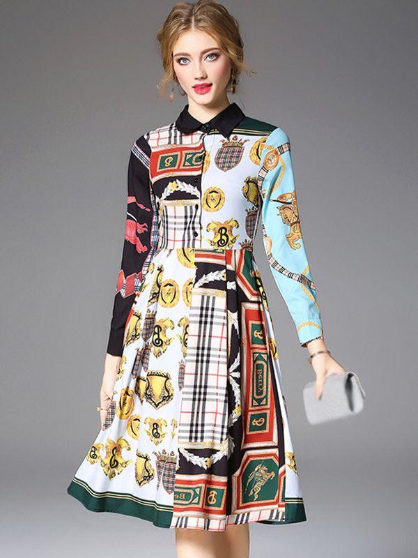 3813e27fc8 Folk Turn-Down Collar Long Sleeve Print Skater Dress