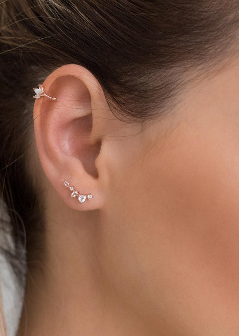 1PC trend Cz Curved Bar Cartilage Earring Piercing Helix Stud Ear trend Jewelry