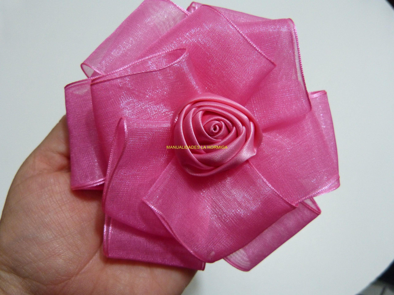 moños en cinta de organza, y flores en cinta satin para el cabello paso ...
