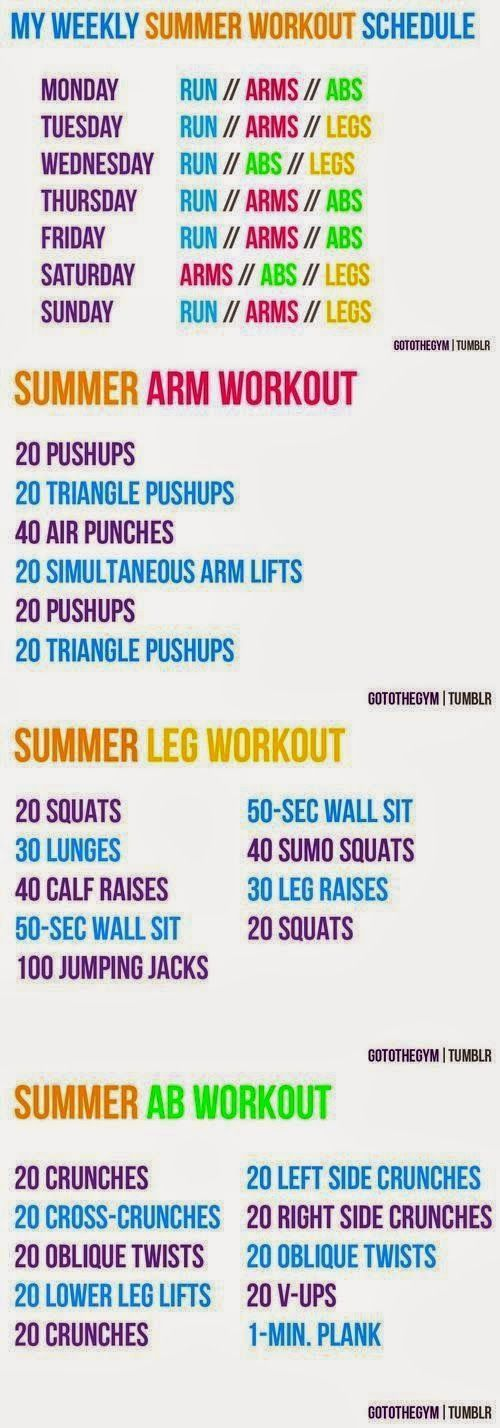 Motivate Me - Summer workout schedule, Workout and Workout schedule - weekly exercise plans