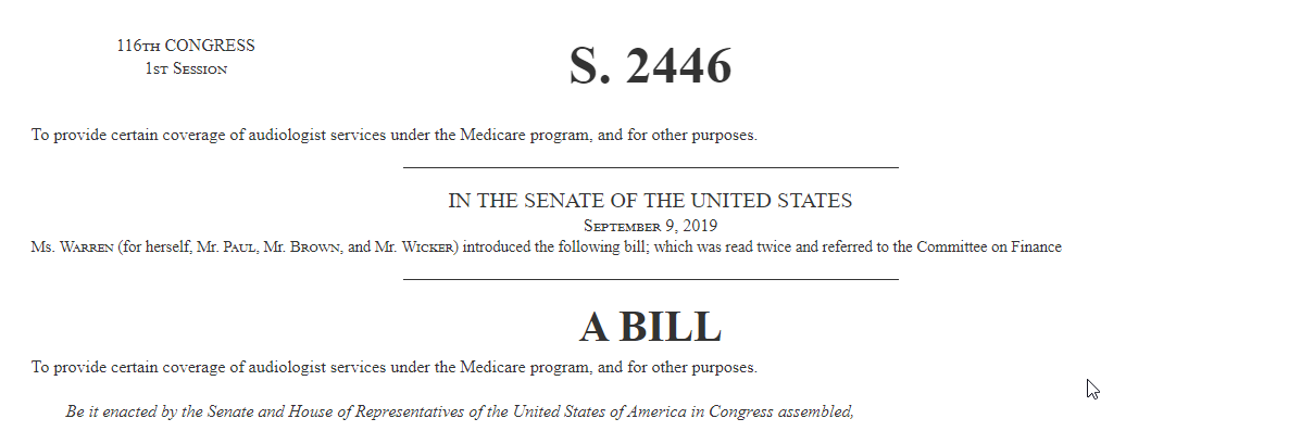 The Medicare Audiologist Access And Services Act Of 2019 S 2446