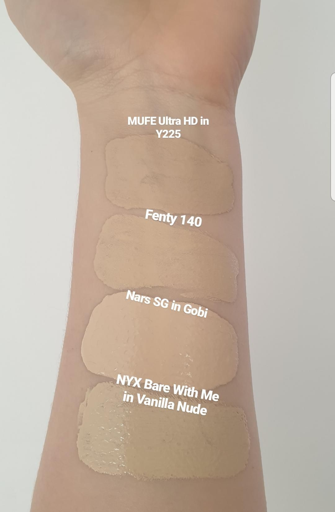 NYX Bare With Me in Vanilla Nude swatched against NARS