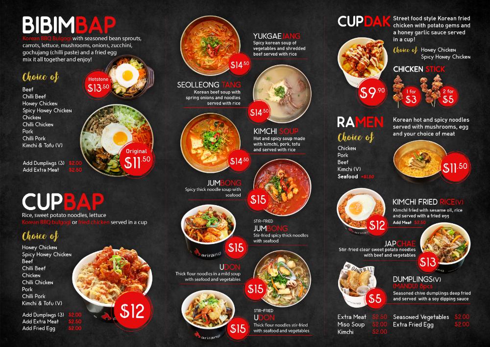 Menu Arirang Korean Bbq Perth Food Menu Design Korean Bbq Menu Menu Design