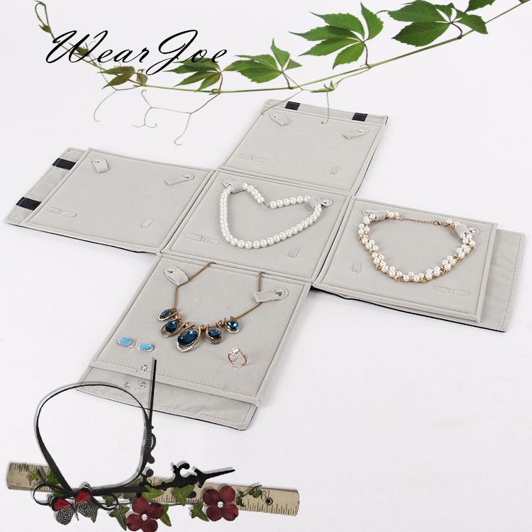 Multi Functional Jewelry Set Carrying Foldable Bag Ring Earring Pendant Necklace Chain Storage Roll Bag Travel Functional Jewelry Chains Necklace Foldable Bag