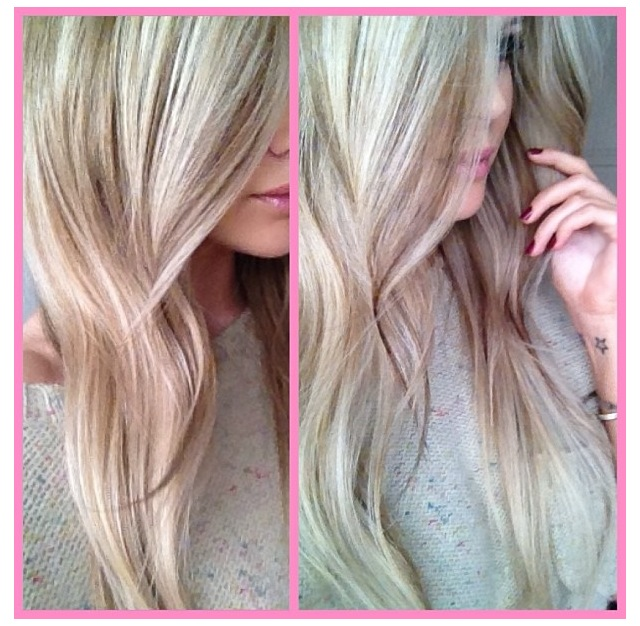 rosa slingor i blont hår