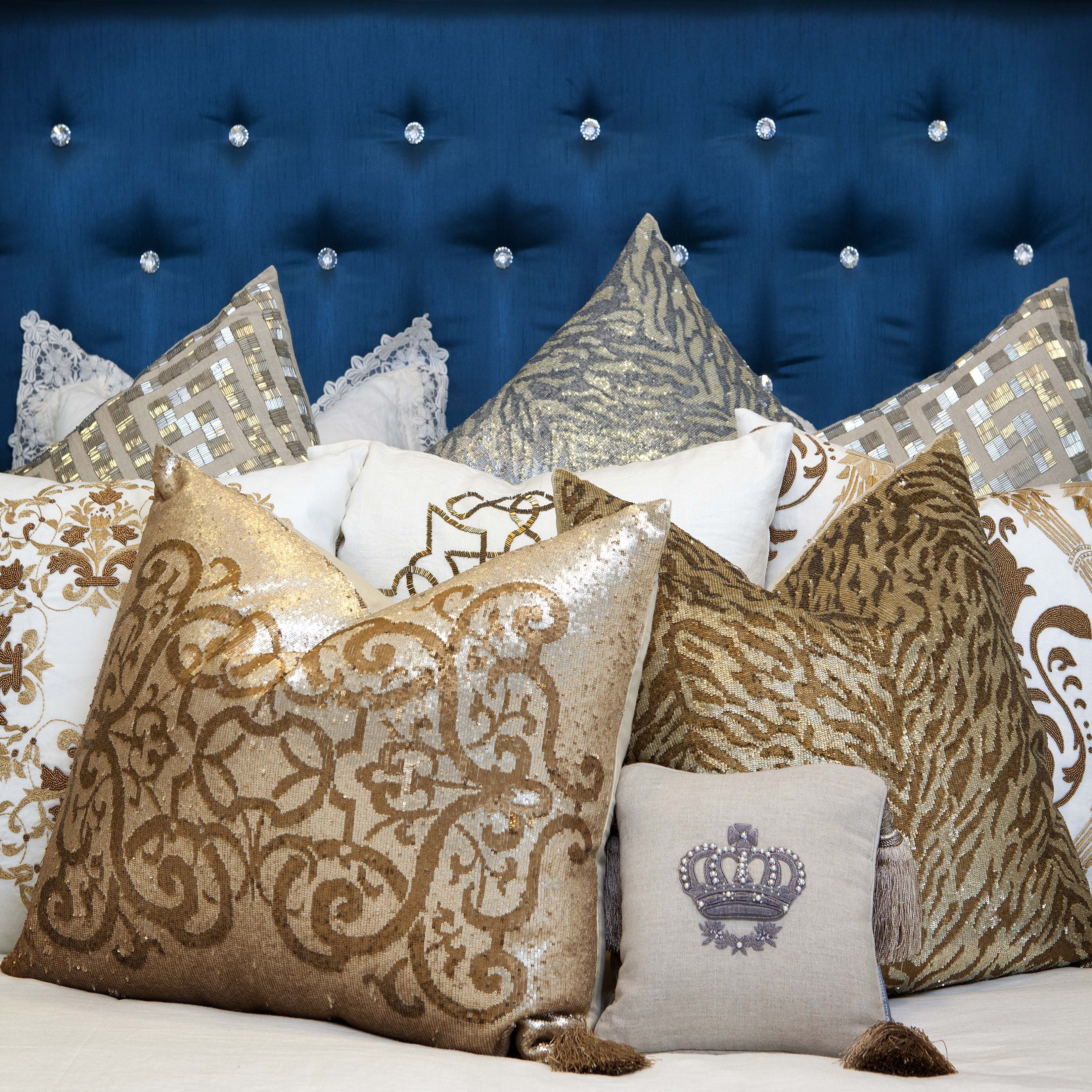 At La Maison Interiors, you'll find a variety of throw pillow options that luxuriously compliment any interior design plan