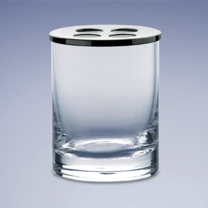 Rounded Crystal Glass Toothbrush Holder