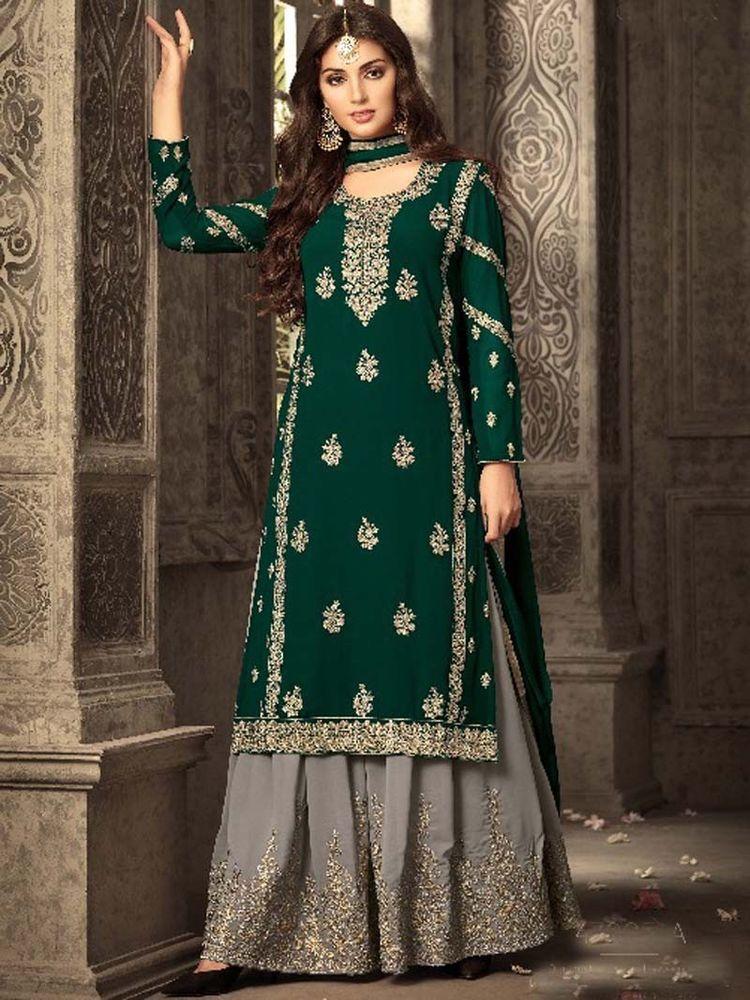 45b57a5fdf #Party wear #Georgette #Green Color #embroidery #Designer #Salwar #Kameez  for #women #HandMade