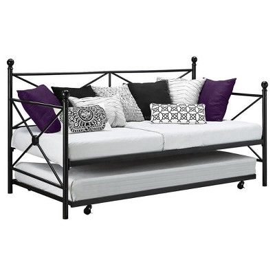 Lubin Metal Daybed and Trundle - Black - Dhp