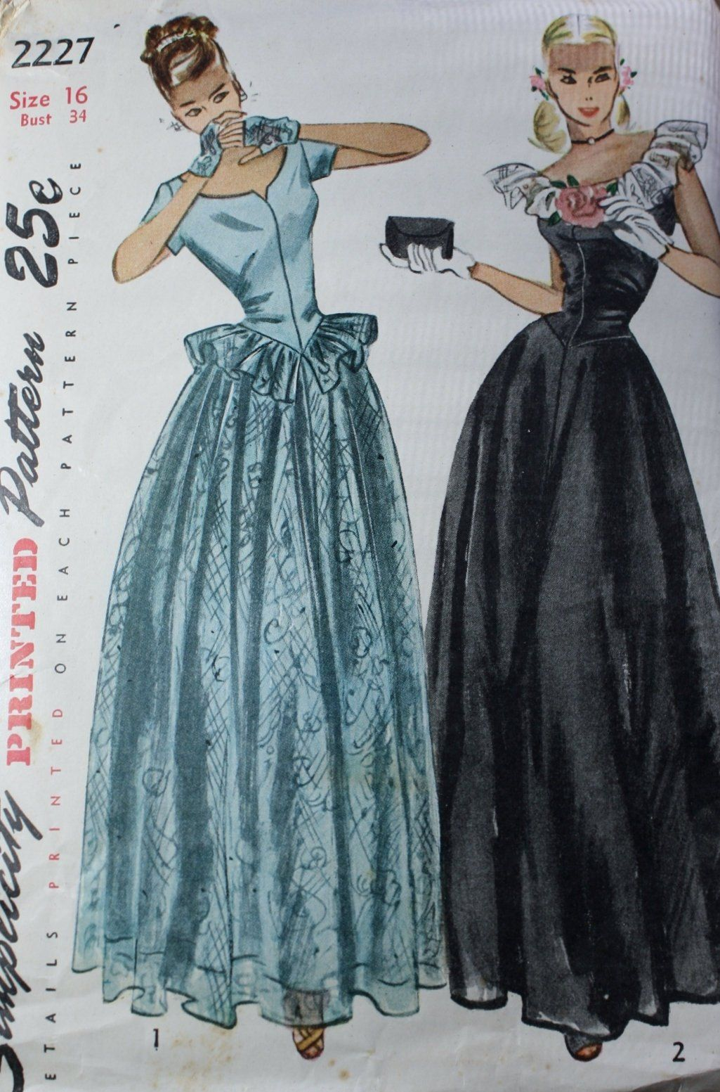 Evening dress sewing pattern simplicity 2227 1940s gown