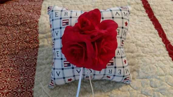 Check out this item in my Etsy shop https://www.etsy.com/listing/516639304/ring-bearer-pillow-americana-red-flower