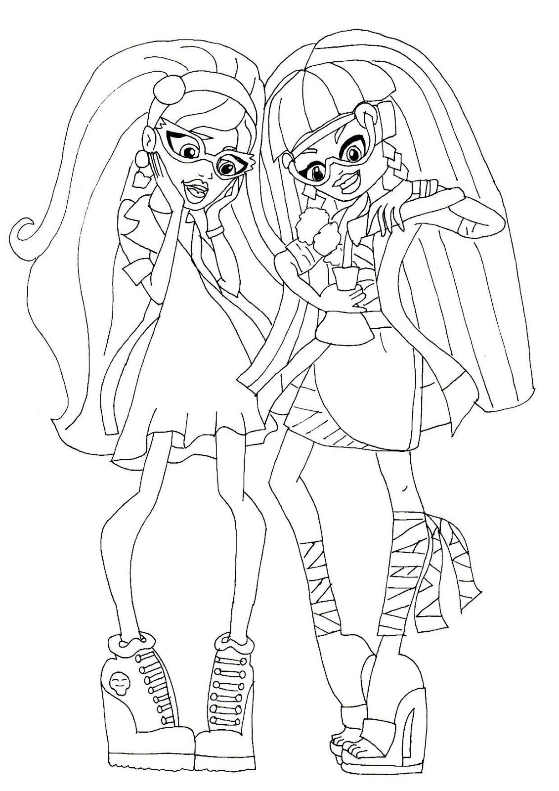 monster high cleo and ghoulia mad science colouring bratz
