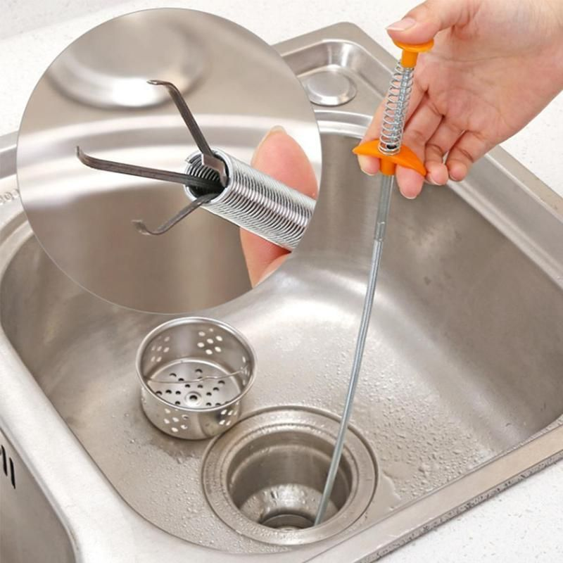 Bendable Sink Cleaning Hook Sewer Dredging Tool Kitchen Spring Pipe Hair Remove.