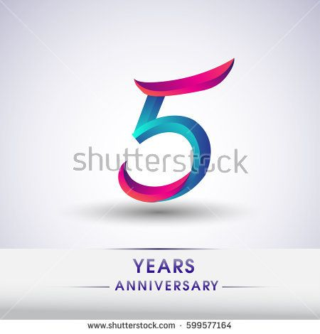 Five Years Anniversary Celebration Logotype Blue And Red Colored 5th Birthday Logo On White Backgr Anniversary Celebration Birthday Logo Five Year Anniversary