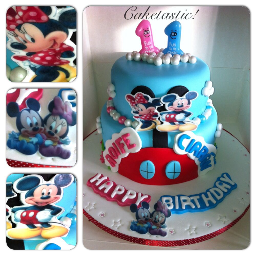 Twins birthday cake of Mickey Minnie Mouse httpswwwfacebook