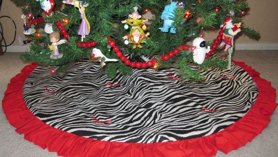 Quilted zebra print christmas tree skirt by christmastreeskirts