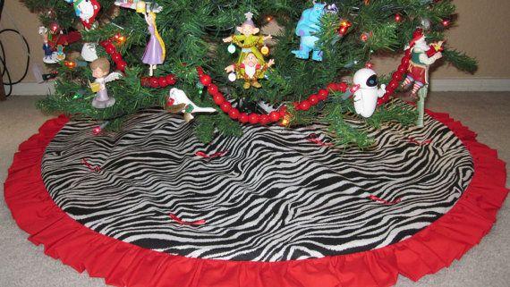 45\u201d Quilted Zebra Print Christmas Tree Skirt Christmas Pinterest
