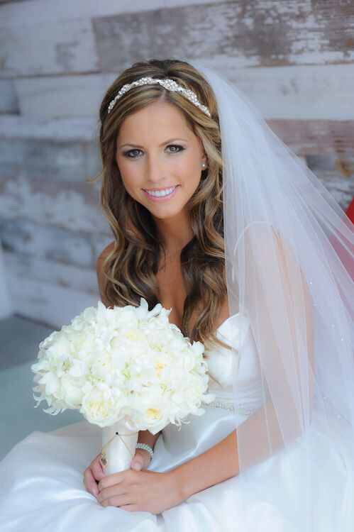 Curly Hair With A Headband Wedding Hairstyles With Veil Wedding Hair Down Bride Hairstyles