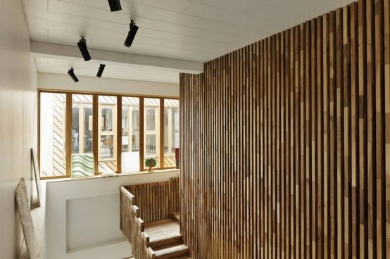Decoration, The Awesome Staircase With White Wall And Black Lighting Wood Slat  Wall Design In