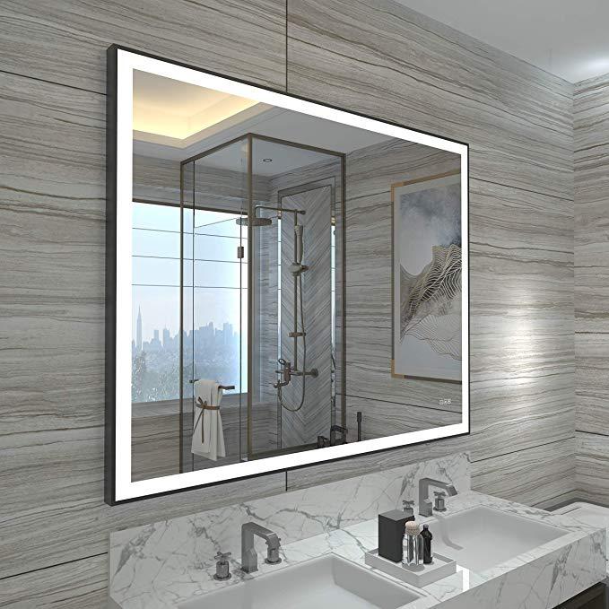 Amazon Com Hauschen 32x40 Inch Black Framed Led Bathroom Wall Mounted Mirror With High Lumen Cri 95 Adjustable Color Wall Mounted Mirror Bathroom Wall Mirror