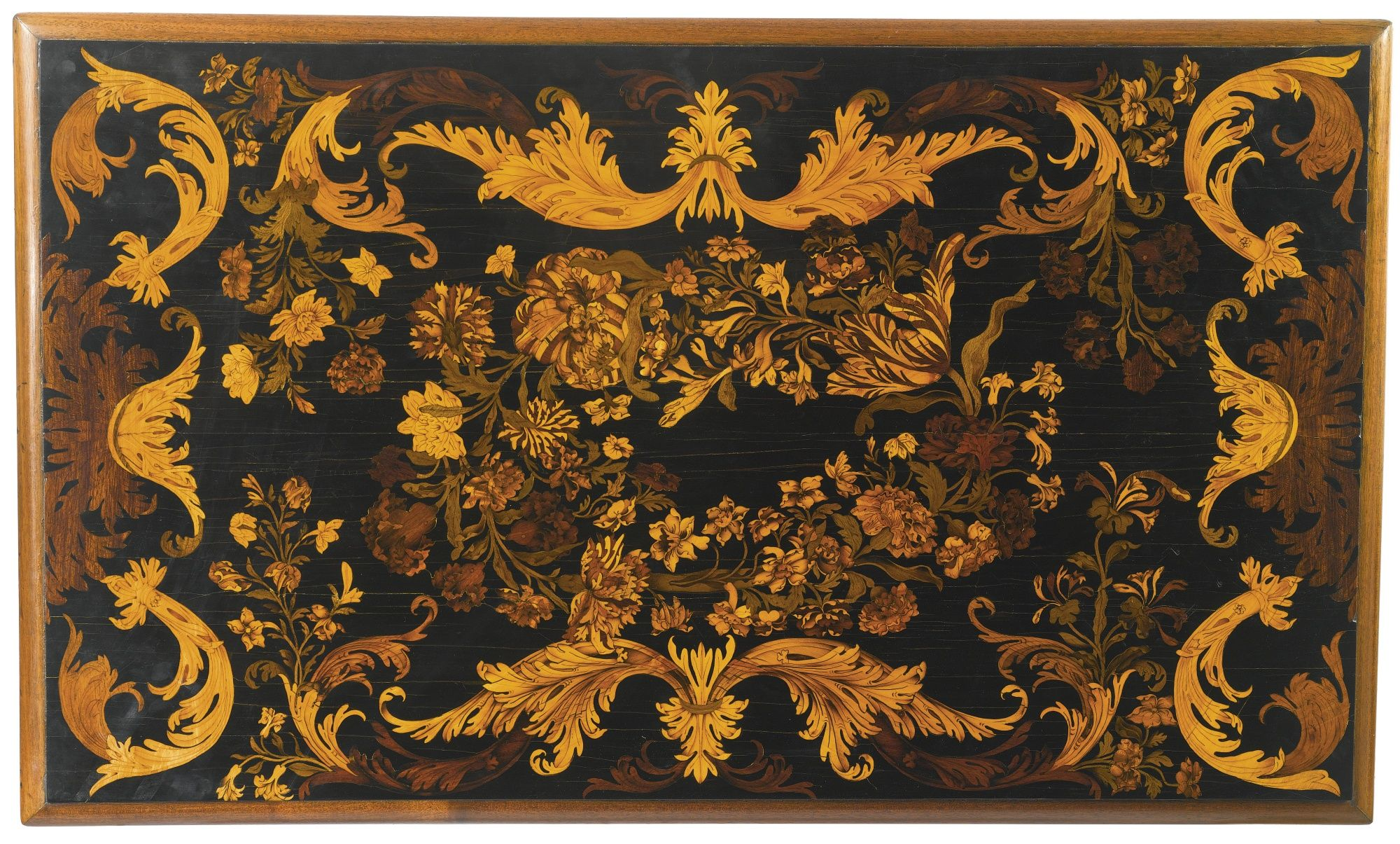 A LOUIS XIV PARCEL-GILT EBONY, KINGWOOD, FRUITWOOD AND MARQUETRY BUREAU BRISÉ, IN THE MANNER OF PIERRE GOLE THE LEGS LATER
