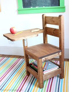 Schoolhouse Chair With Writing Pad Desk Woodworking Projects For Kids Diy Wood Projects Wood Diy