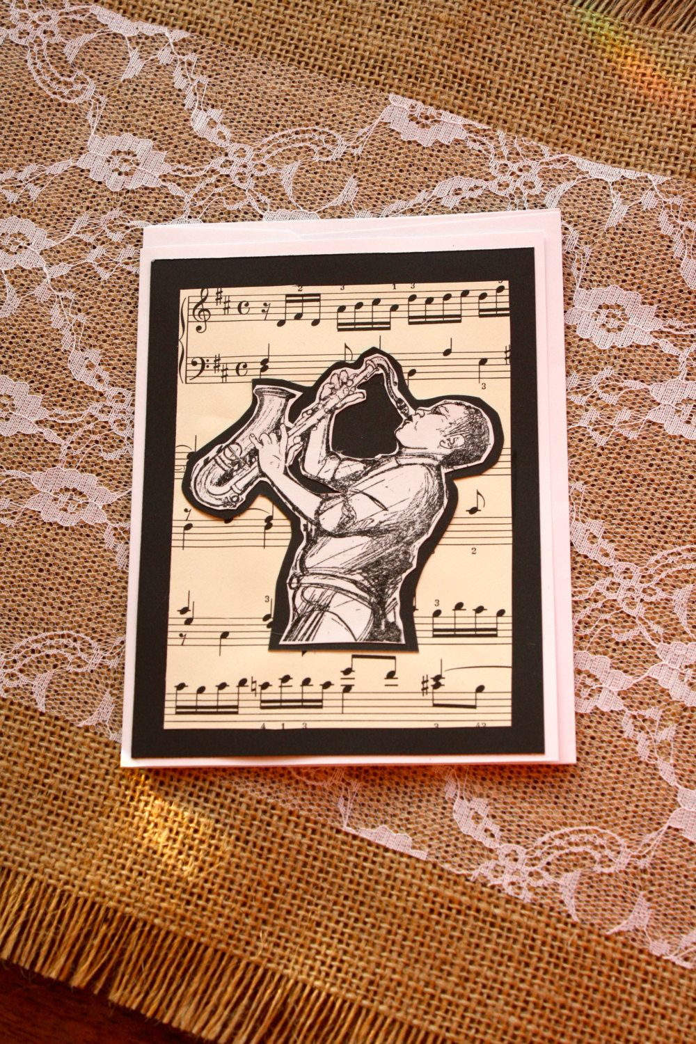 Music friendship card greeting card handmade jazz musician