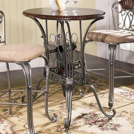 sumatra pub table with wine rack