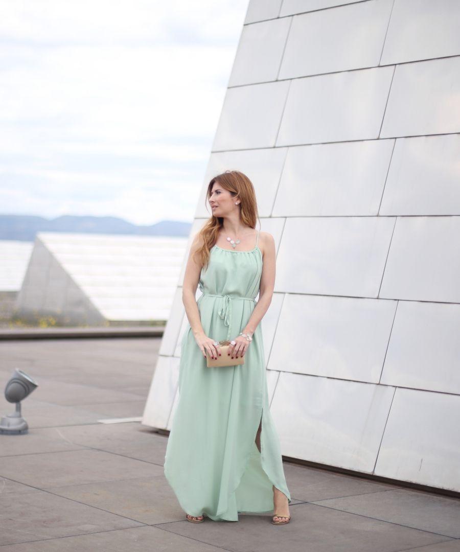 Vestido verde largo uterque