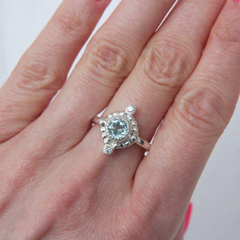 Aquamarine and White Sapphire Ring Sterling Silver Milgrain Artdeco ...