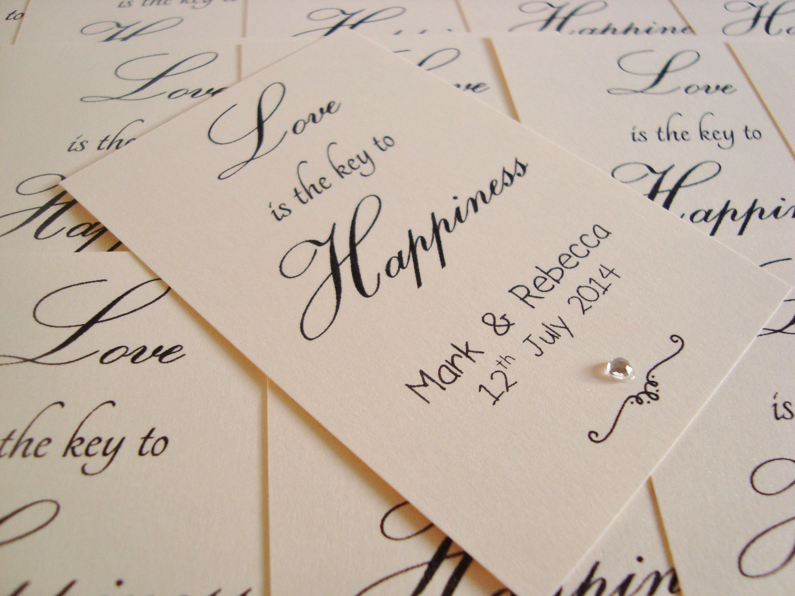 Love is the Key to Happiness Wedding Favour Tags www.ohsopurrfect.co ...