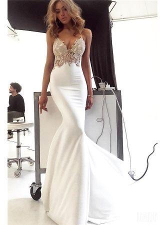Modern Abendkleider Lang Weiß   Elegante Abendmoden Online ...