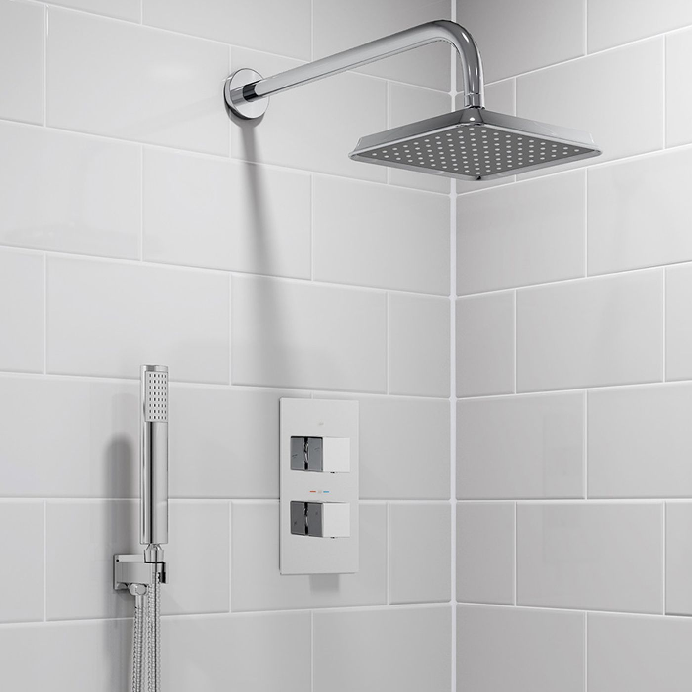 200mm Square Wall Mounted Head, Handheld & Thermostatic Mixer Shower ...