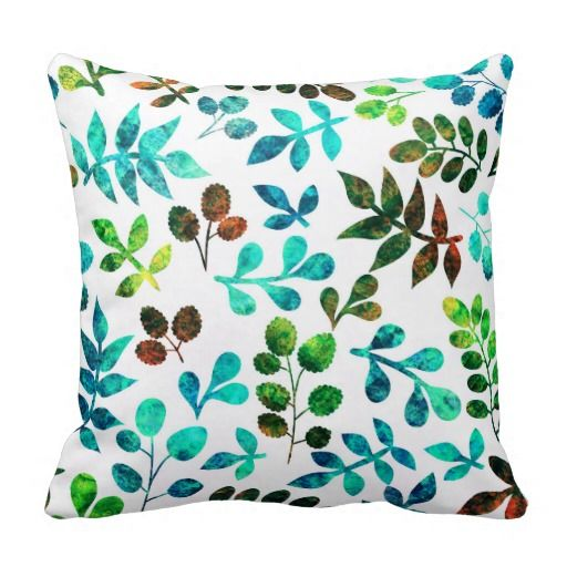 Watercolor Leaf Design Throw Pillows