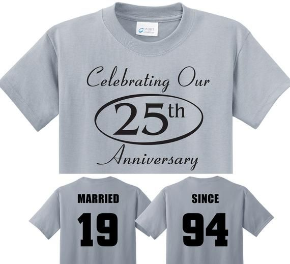 f572017d SILVER 25TH Anniversary Gift - Custom couples MARRIED SINCE 1994 &  Celebrating Our 25th t-