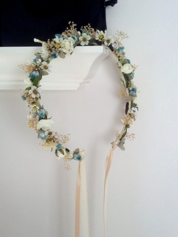 Photo of Items similar to bridal shower flower crown aqua teal hippie headwreath wedding accessories dried flower hair wreath for hair halo baby on etsy