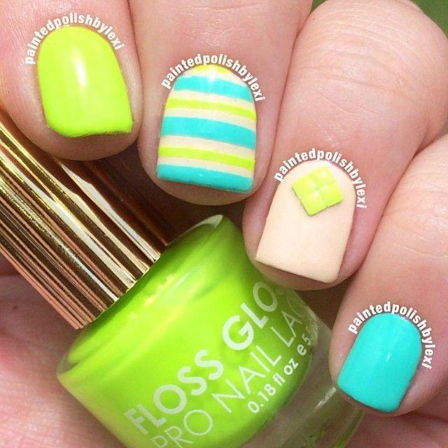Uñas verdes de neon con accesorios - Green neon nails with ...